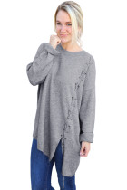Grey Lace Up Side Lightweight Sweater