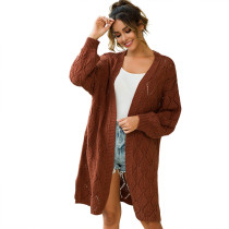 Coffee Hollow Out Loose Knit Cardigan TQK270040-15