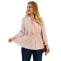 Pink Knotbow Front Plus Size Blouse TQK220045-10
