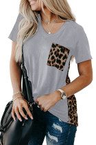 Gray Leopard Printed Splicing T-Shirt LC253578-11