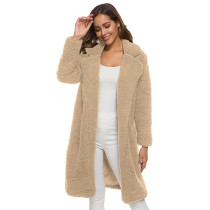 Khaki Turndown Collar Long Furry Coat TQK280041-21