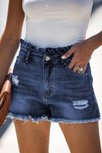 Blue High Rise Ruffle Waist Denim Shorts LC786259-5