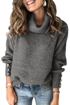 Gray Lantern Sleeve Turtleneck Pullover Sweater LC272009-11