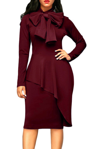 Burgundy Asymmetric Peplum Style Pussy Bow Dress