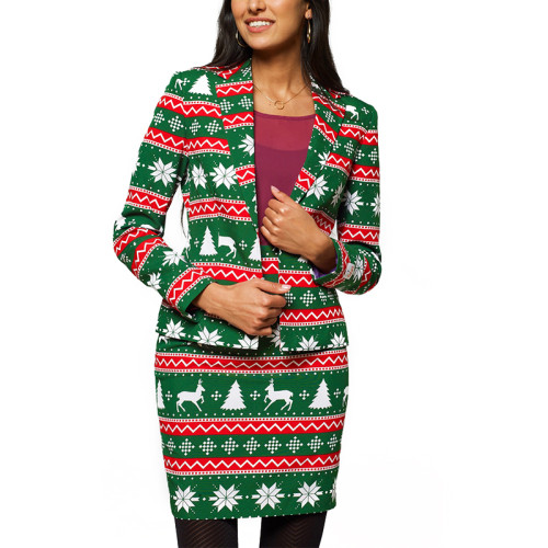 Green Reindeer Print Christmas Blazer with Skirt Set TQK710027-9C