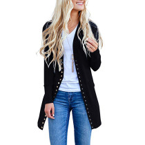 Black Long Sleeve Snap Button Down Knit Cardigans
