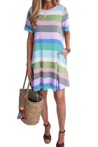 Sky Blue Striped Color Block Casual T-Shirt Dress LC221263-4