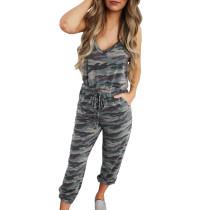 Grey Camo Jumpsuit with Pockets TQK550127-11