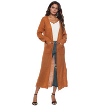 Brown Split Long Cardigan With Pockets TQK270039-17