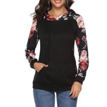 Black Kangaroo Pocket Floral Sleeve Hoodie TQK00300-2