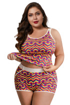 Rainbow Heart Print Plus Size Tank and Short Set LC43189-8