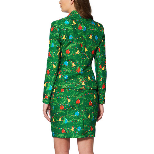 Green Christmas Print Blazer with Skirt Set TQK710027-9B