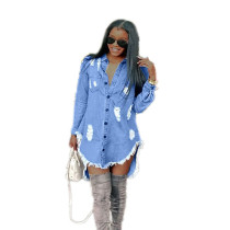 Blue Distressed Tassel Hem Denim Dress TQS310035-5