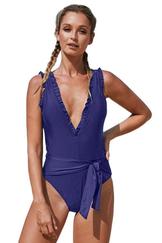 Blue Deep V Neck Frill Detail One-piece Swimwear with Belt LC411962-4