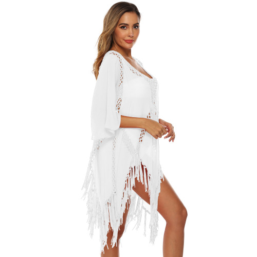 White Hollow Out Tassel Beach Cover up GJZ00205-1