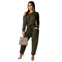 Solid Color Off Shoulder Army Green Jumpsuit TQS550012-27