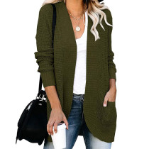 Army Green Chunky Wide Cardigan with Pockets TQK271082-27