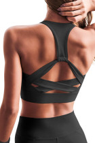 Black Athletic Push Up Sports Bra LC262008-2