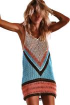 Blue Color Block Hollow Out Beach Cover Up