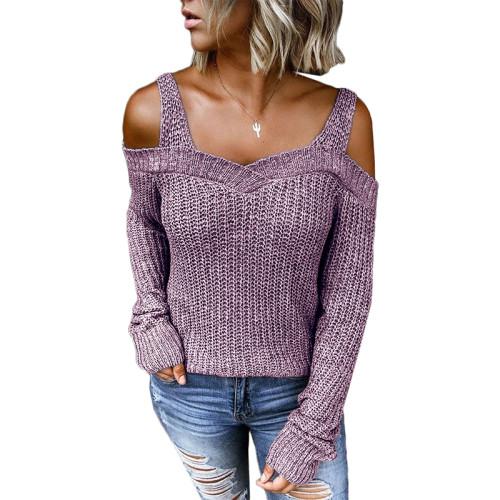 Purple Cold Shoulder Long Sleeve Knit Sweater TQK271046-8