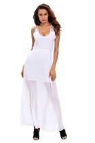 White Sequins Accents Maxi Dress