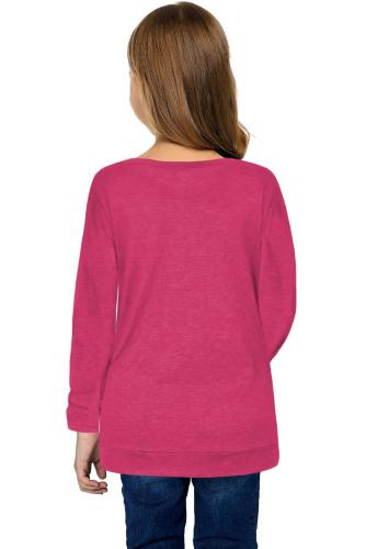 Rose Little Girls Long Sleeve Buttoned Side Top TZ25122-6