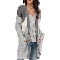 Gray Geometric Colorblock Knit Cardigan TQK271088-11