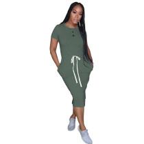 Green Elastic Waist Short Sleeve Casual Dress TQK310321-9