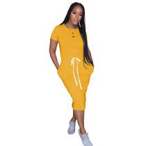 Yellow Elastic Waist Short Sleeve Casual Dress TQK310321-7
