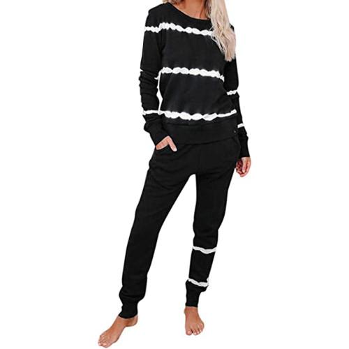 Black Striped Long Sleeve Pant Set Loungewear TQK710110-2