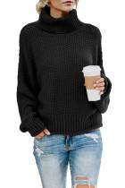 Black Turtleneck Balloon Long Sleeve Pullover Sweater LC270200-2