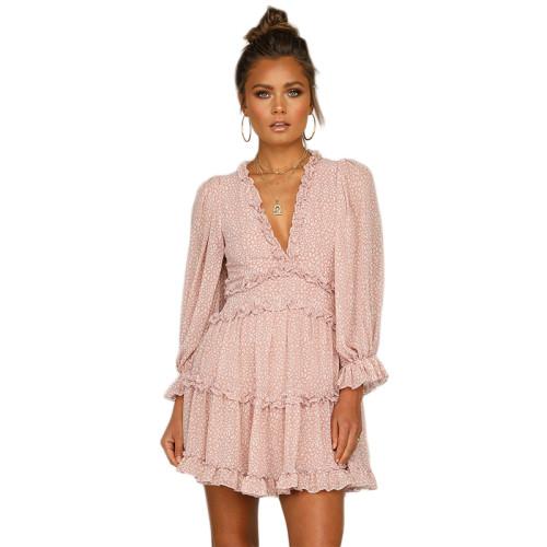 Pink V Neck Puff Sleeve Comfort Dress TQK310171-10