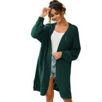 Green Hollow Out Loose Knit Cardigan TQK270040-9