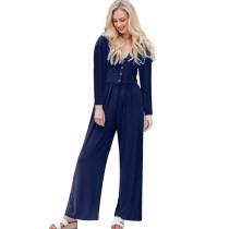 Navy Blue Long Sleeve Button Up Wide Leg Jumpsuit TQK550141-34