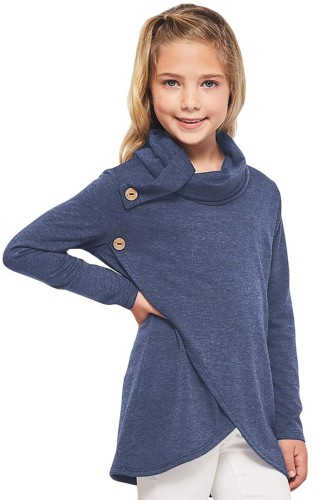 Blue Toddler Little Girls Turtleneck Blouse Top TZ25108-5
