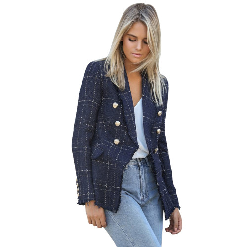 Navy Blue Plaid Print Button Blazer Suit TQK260032-34