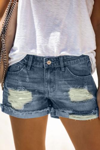 Women's Distressed Ripped Rolled Hem Blue Denim Shorts LC77173-5