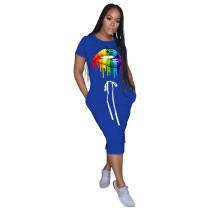 Blue Lips Print Elastic Waist Casual Dress TQK310322-5