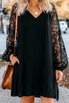 Black Lace Long Sleeves Shift Above Knee Dress LC221094-2