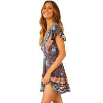 Navy Blue Floral Print V Neck Tie Waist Boho Dress TQK310050-34