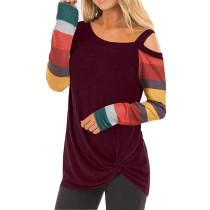 Blue Cold Shoulder Color Block Long Sleeves Tops TQK210250-5