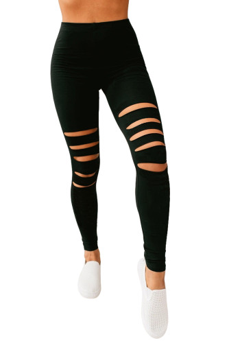 Black Hollow Out Fitness Activewear Leggings LC76002-2