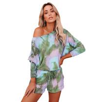Green Tie Dye Long Sleeve Pajama Set TQK710063-9