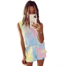 Yellow Tie Dye Sleeveless Pajamas Set TQK710050-5