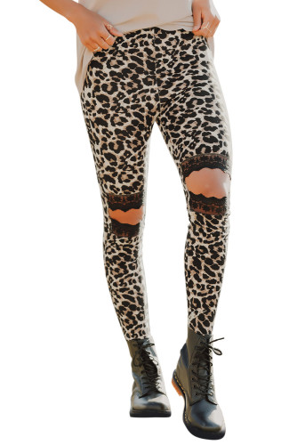 Floral Hollow Out Brown Leopard Printed Skinny Leggings LC790100-1020