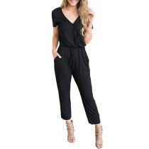 Black V Neck Short Sleeve Jumpsuit