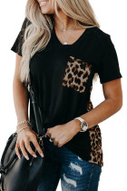 Leopard Printed Splicing T-Shirt LC253578-20
