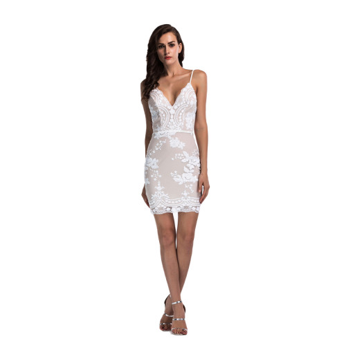 White V Neck Spaghetti straps Club Dress