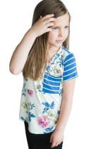Sky Blue Little Girl Floral Striped V Neck T Shirt