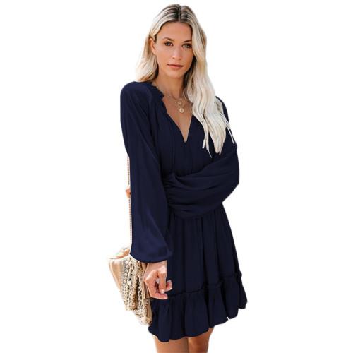 Navy Blue V Neck Loose Fit Skater Dress TQK310169-34